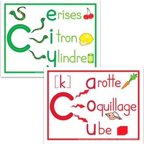 Fichier PDF téléchargeable En couleurs seulement Format: 8.5 X 11'' 2 pages Voici 2 affiches pour apprendre devant quelles lettres le ''c'' doit être prononcé doux ou dur.