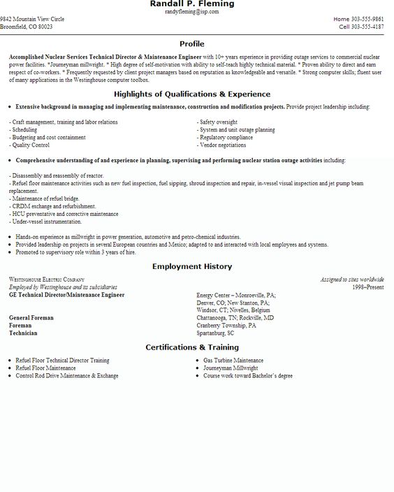 Resume building for engineers