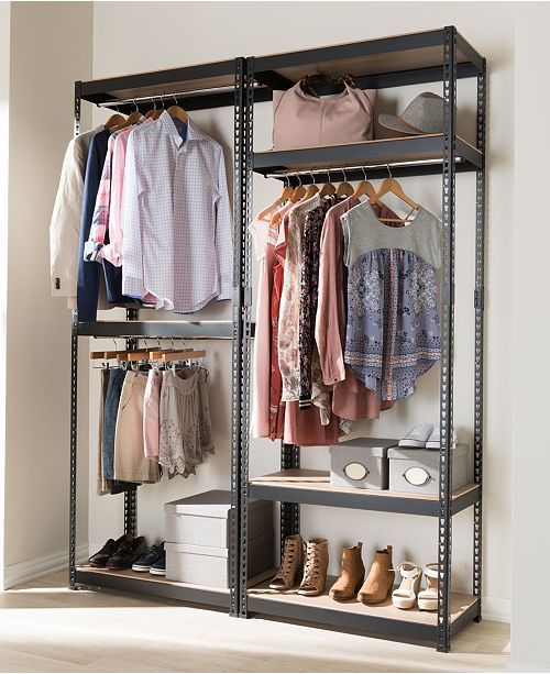 Gavin 3 Shelf Closet Rack Quick Ship Clothes Storage Without A