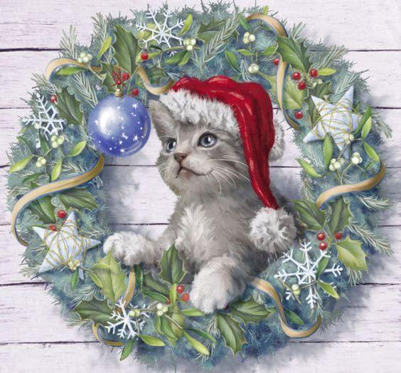 Pin By M Mailletas On 1 Christmas Paintings Christmas Kitten Christmas Art