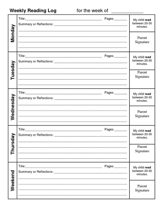 reading log with summary template weekly reading log with summary reading pinterest