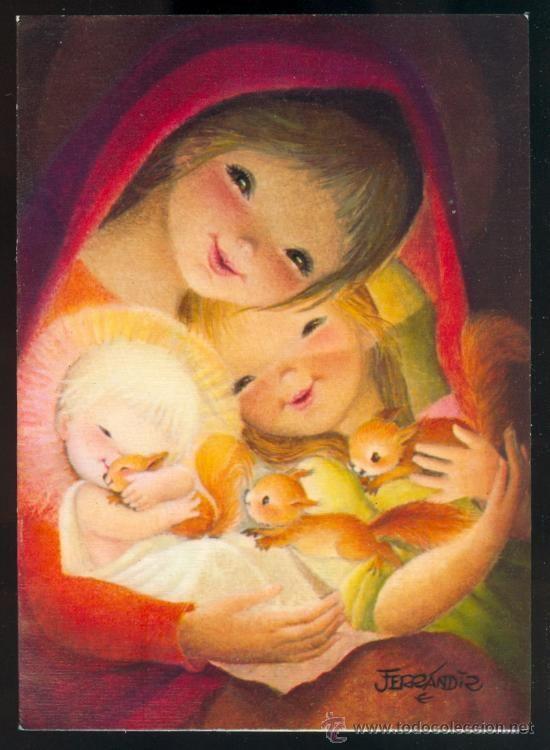 Tarjeta 007 Ferrándiz Virgen Niño Jesús Ardilla Preciosa felicitación Navidad…: