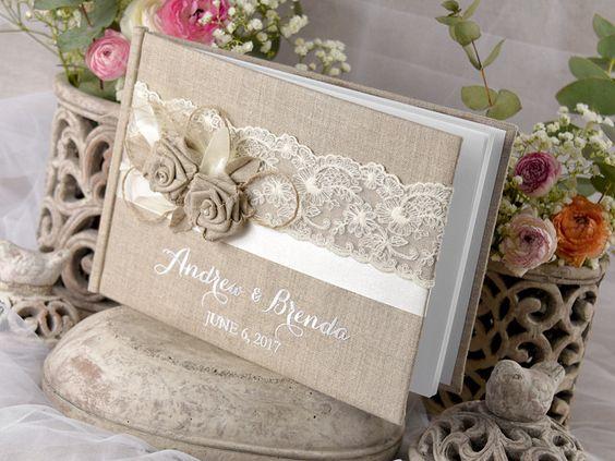 Hochzeitsgästebuch - Leinen Vintage Hochzeit Gästebuch 001/ShChichf/kwg - ein Designerstück von 4lovepolkadots bei DaWanda