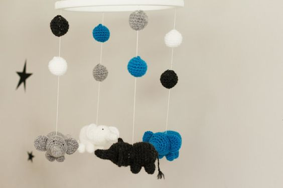 Nursery Mobile Elephant Mobile Crochet Mobile Baby Boy by LalaKa