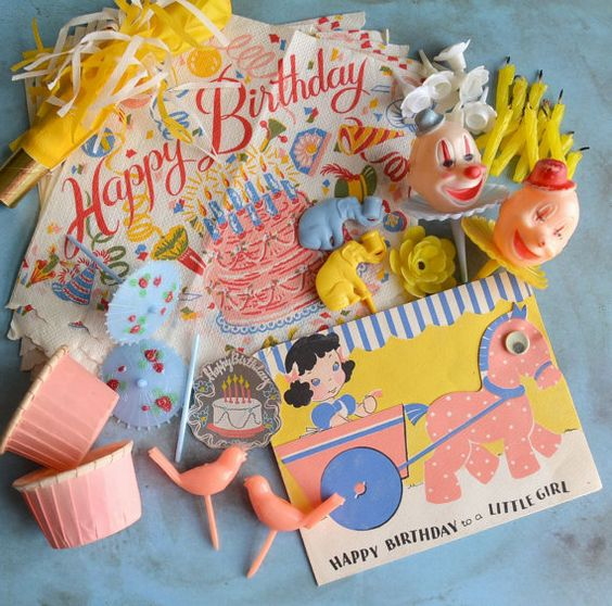 Vintage Birthday Party Cake Decorations Paper Napkins Candle Holders Card