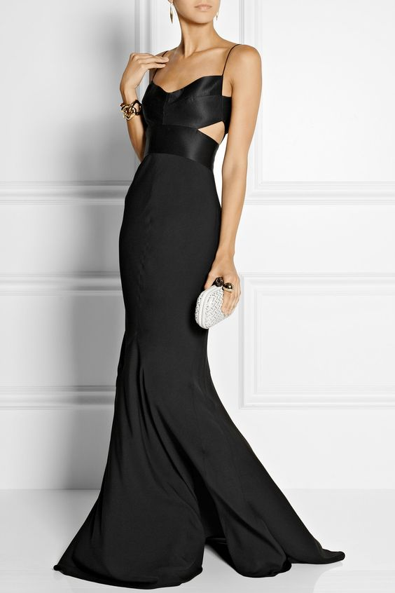 Narciso Rodriguez | Cutout silk-satin and georgette gown | NET-A-PORTER.COM