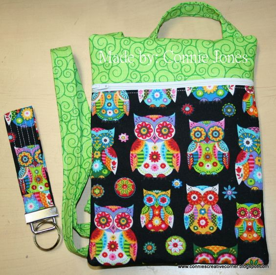 Colorful owls with matching key fob.