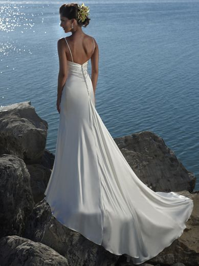 Used Empire Waist V-neck with Elegant Beading Chapel Train Beach Chiffon Wedding Dress