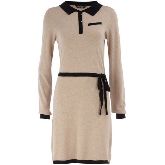 Oatmeal contrast collar dress ($9) ❤ liked on Polyvore