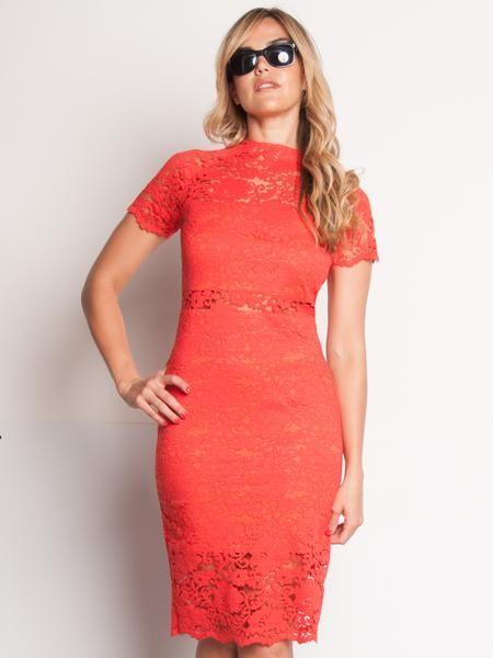 Raschel, vestido de encaje rojo anaranjado