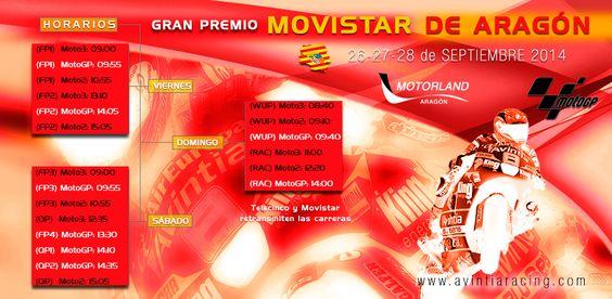 Infografía de los horarios. GP Aragón. Circuito de Motorland (España). Campeonato del Mundo de MotoGP 2014.