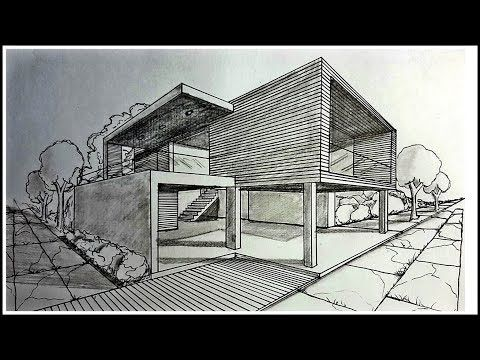 Drawing A Modern House In Two Points Perspective Time Lapse
