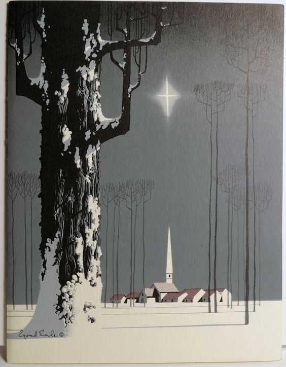 Eyvind Earle illustration, 1950s (Earle was one of the major illustrators for Walt Disney's Studio - specifically on the backgrounds and themes for 'Sleeping Beauty'):