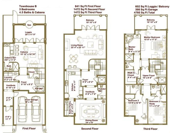 Luxury townhome floor plans google search home for Luxury townhome plans