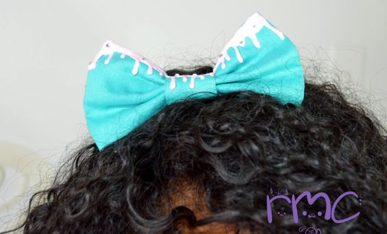 Kawaii Drip Hair Bows Fairy Kei Mint Bows by RachelMarieClay