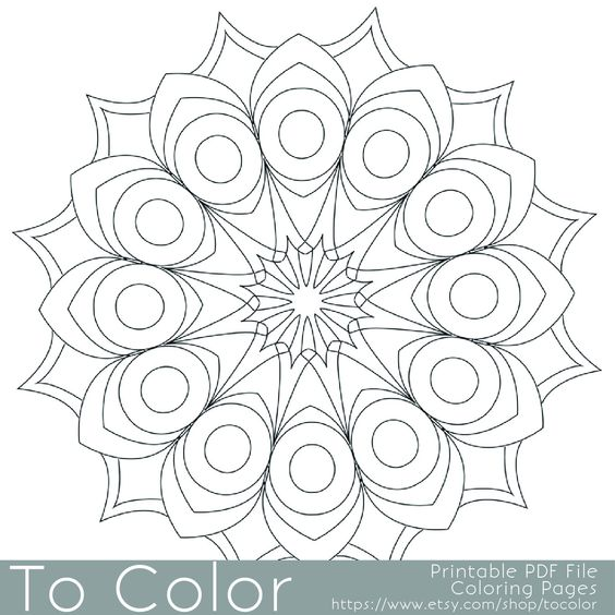 Easy Coloring Pages Pdf : Printable circular mandala easy coloring pages for adults