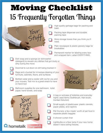 Great list to help you keep your sanity in moving.  15 Frequently Forgotten Items On Your Moving Checklist.    If you like this, you'll love our FREE tip sheet:  Moving Made Easier Tip sheet .. it's FREE.  Email me today:  thebridalconnection@yahoo.com