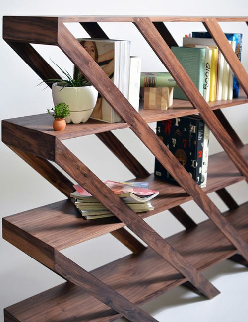 Angled Bookshelves angled lines: zig-zag lines are overpowering, diagonal  lines are