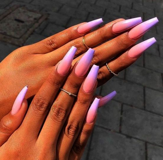 Home Blend Of Bites Lavender Nails Blue Ombre Nails Fake Nails