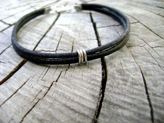 Manly   mens bracelet black natural cotton cord by DivinaLocura #mensfashion #men jewelry