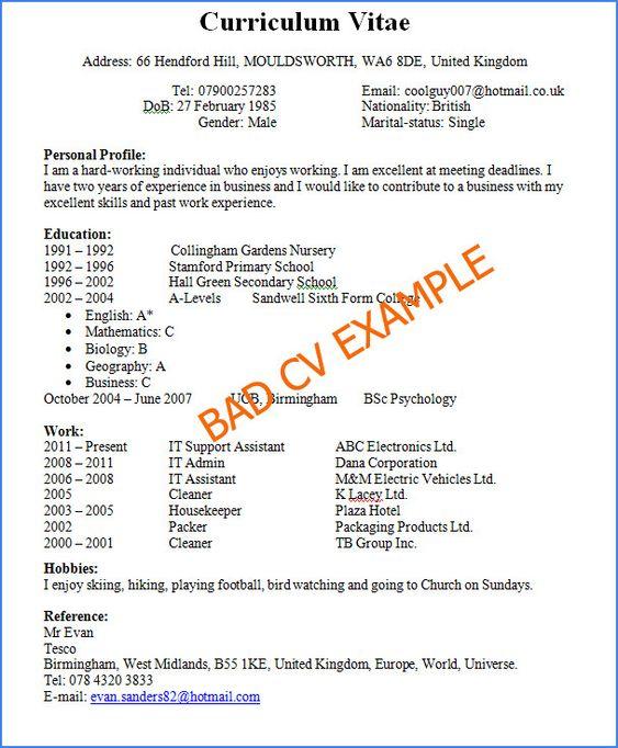 Good Vs Bad Resume Examples Exclusive Bad Cv Example Of 37 Original Good Vs Bad Resume Exampl Good Resume Examples Good Cv Job Resume Samples