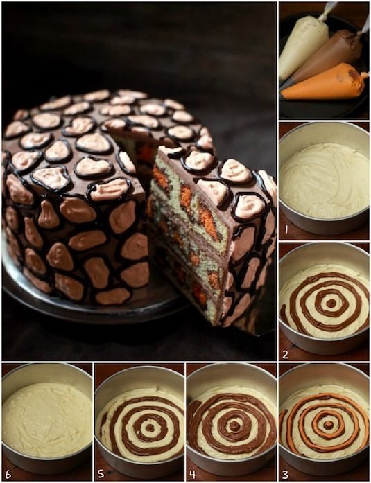 Leopard Print Surprise Cake. There are lots of surprise-inside cakes at this link, but I like this one because it seems a lot simpler.
