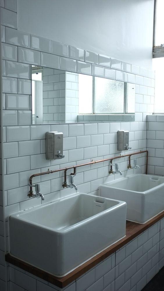 Model Subway Tiles  Oak Timber  Marble  Copper Pendants A Charming  Victorian Terrace House, SW London Drummonds Bathrooms, London, UK