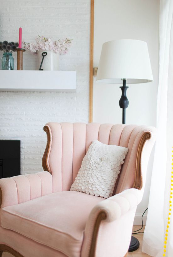 Blush wingback chair via At Home in Love