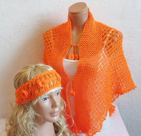 Crochet Lace Shawl Capelet Orange. Wrap Shrug. by WomanStyleShop, $80.00