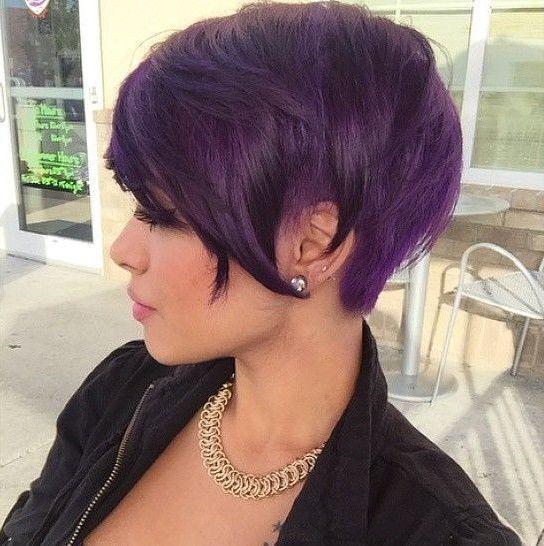 Hou jij van paars? 11 prachtige paarse korte kapsels. - Kapsels voor haar