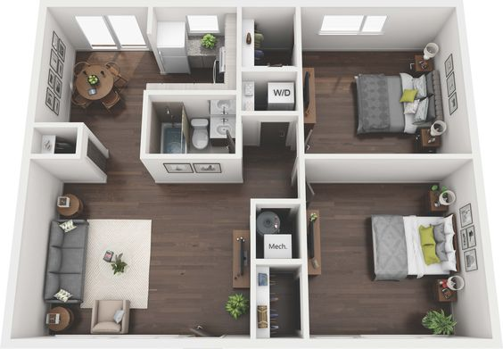 Denah Rumah Minimalis 3 Kamar Tidur 3D 23