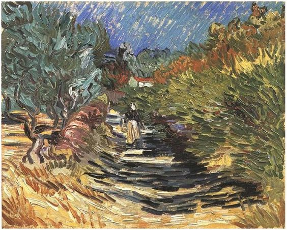 Road at Saint-Remy with Female Figure, A by Vincent Van Gogh   Painting, Oil on Canvas   Saint-Rémy: December, 1889
