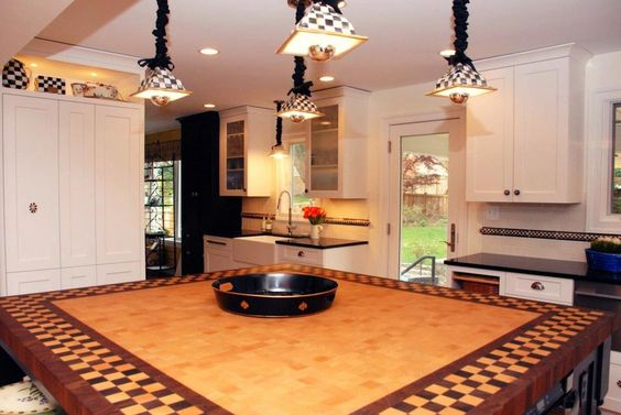Beech, Wenge, Walnut Butcher Block Countertop for a Kitchen Island in Bethesda, MD - love this look
