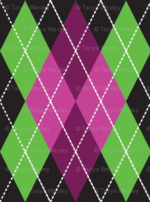 Green and Pink Argyle Pattern