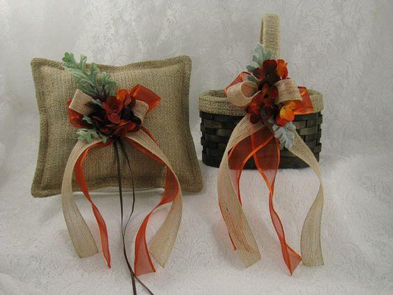 Fall/Autumn Ring Bearer PillowFlower Girl Basket by EuphoriaRoad, $58.00