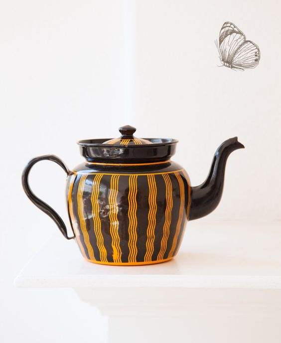 1920s French Enamel Teapot - Art Deco Black and Orange - Exceptional Condition - Free Shipping Within the USA by ScrumptiousVenus on Etsy https://www.etsy.com/listing/277353532/1920s-french-enamel-teapot-art-deco