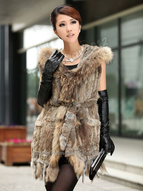 Low Low Low Real Knitted Rabbit Fur Raccoon Trim Hoody Long Vest Jacket Coat