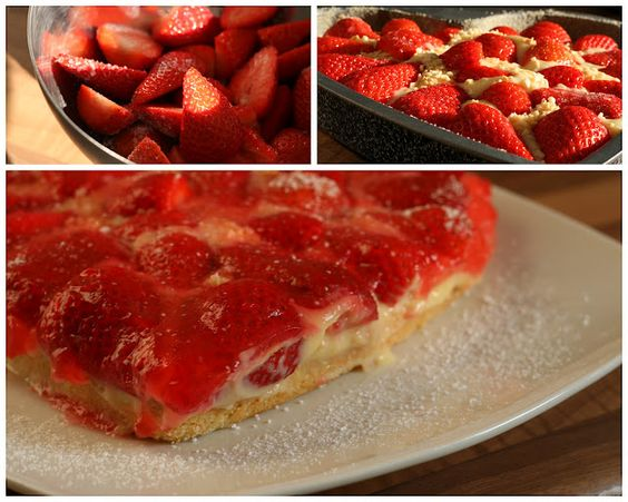 Strawberry cake, recipe in German from vida*nullvier: Baking Powder, Aaa Recipes, Strawberry Cake Recipes, Didi S Recipes, Recipes Just Desserts, Cookies Cakes Sweets, Favorite Recipes, Food Baking