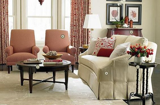 Furniture living room ivory colored double sofa and peach for Ivory couch living room ideas