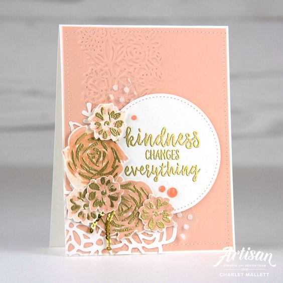 Kindness flower card created with Abstract Impressions stamp set - Charlet Mallett, Stampin' Up!