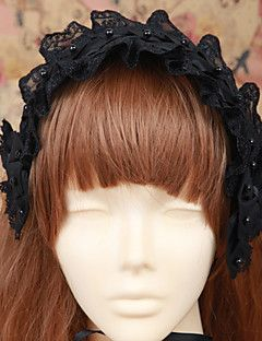 Handmade Black Lace Cotton Gothic Lolita Headband