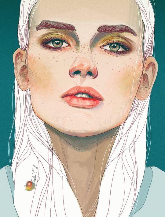 Amazing digital work, 'Darya' by Nadiia Cherkasova  http://yourporcelaindoll.deviantart.com/art/Darya-511870838