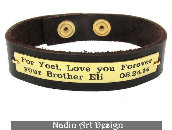 Lederarmband. Graviertes Armband. Männer Geschenk von NadinArtDesign auf DaWanda.com
