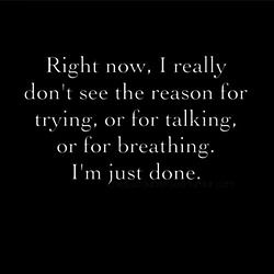 Right now, I really don't see the reason for trying, or for talking, or for breathing. I'm just done.