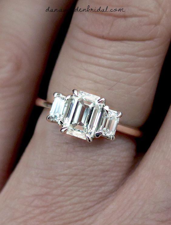 Emma Emerald Cut Diamond Three Stone Engagement Ring in Platinum – Dana Walden Bridal :: Engagement Ring Designers - NYC