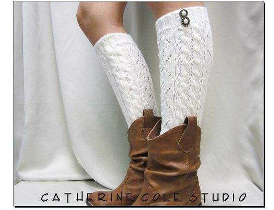 Open crochet knit leg warmers ivory / womens cable knit pattern  great with cowboy boots by Catherine Cole Studio legwarmers open work. $23.90, via Etsy.