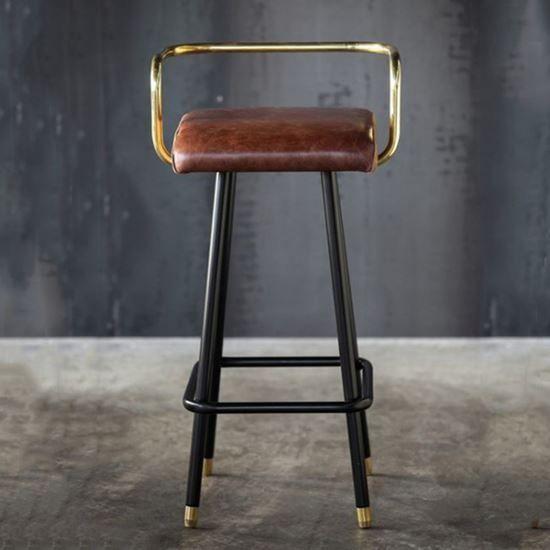 Armrest B Barstool Black Metal Frame Upholstered Seat Armrest