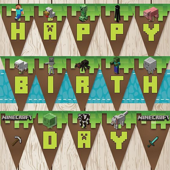 It's just an image of Sly Minecraft Birthday Banner Free Printable