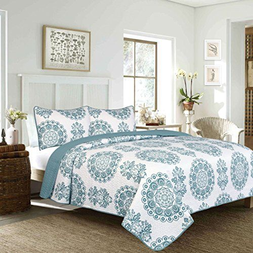 2 Piece Twin Beautiful Modern Style Classic Floral Pattern Quilt