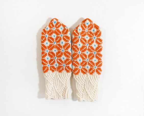 Hand Knitted Mittens  White and Orange Size by UnlimitedCraftworks
